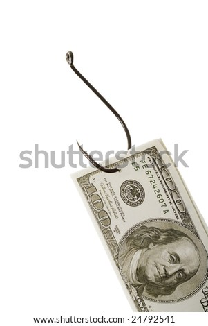 Conceptual image of dollar banknote caught by fishing hook - stock photo
