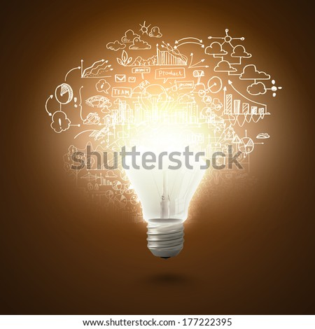 Conceptual image of electric bulb against yellow background - stock photo