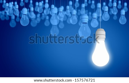 Conceptual image of electrical hanging bulbs. Idea concept - stock photo