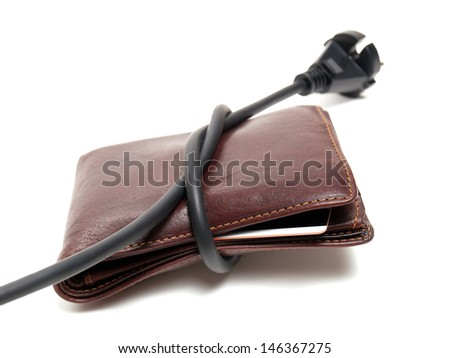 Conceptual image of expensive electricity costs. - stock photo