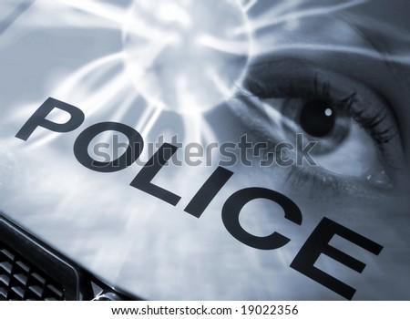 Conceptual image of eye abstract overlaid onto police car - stock photo