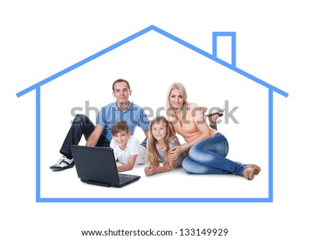 Conceptual image of family at home. Isolated On White Background - stock photo
