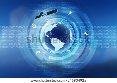 Conceptual image of Global Positioning System GPS on globe - stock photo
