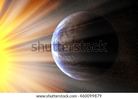 conceptual image of globe and light. Furnished NASA image used for this image