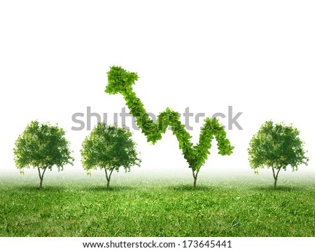 Conceptual image of green plant shaped liked graph - stock photo