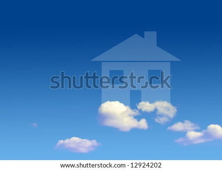 Conceptual image of house shape floating in clouds - stock photo