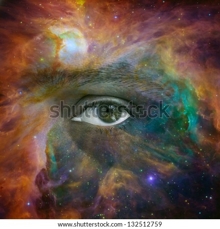 Conceptual image of human eye looking through a nebula in the Universe. Elements of this image furnished by NASA - stock photo