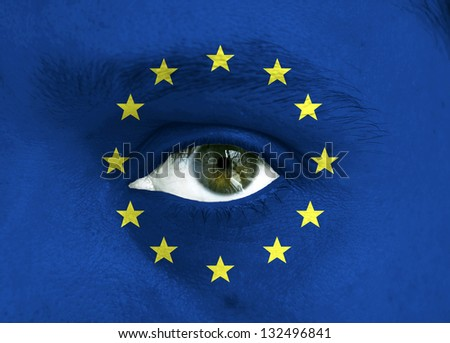 Conceptual image of human face with open eye covered with the EU flag to show support for Europe
