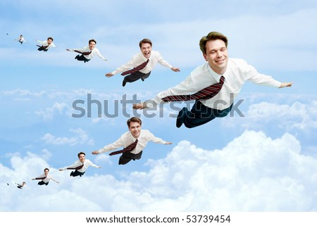 Conceptual image of many businessmen flying in the clouds - stock photo