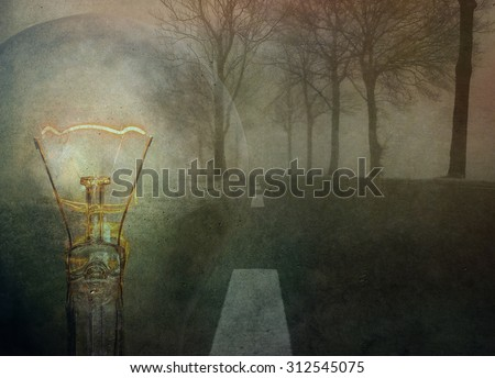 Conceptual image of new mindset and new results. Grunge wall background. - stock photo