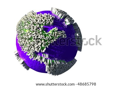 conceptual image of overpopulation and over-construction in the world