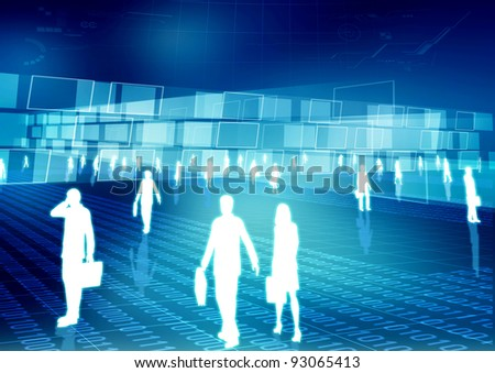 Conceptual image of people doing activity and business in virtual world of internet