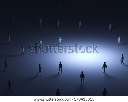 Conceptual Image of People walking into the light with place for Your Object - stock photo