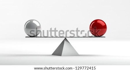Conceptual image of perfect balance between two issues - stock photo