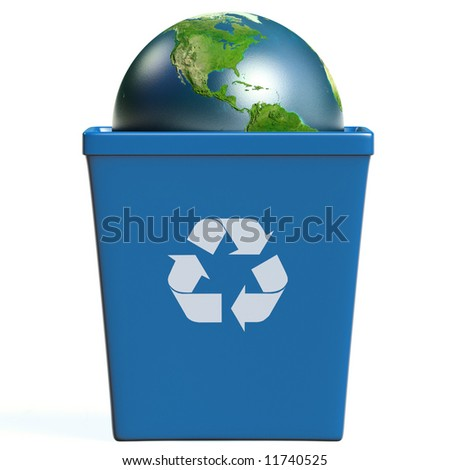 Conceptual image of planet earth in a trash bin isolated on white