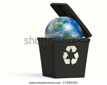 Conceptual image of planet earth in a trash bin isolated on white - stock photo