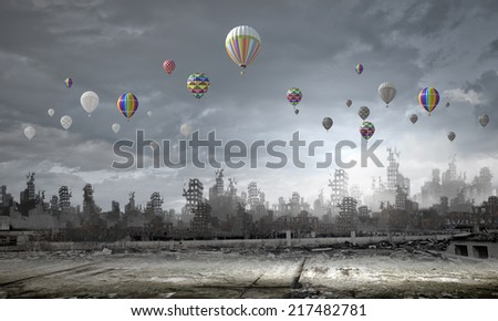 Conceptual image of ruins of destroyed city - stock photo