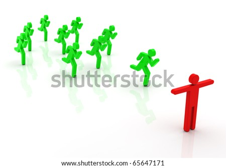 Conceptual image of run teamwork 3d - stock photo
