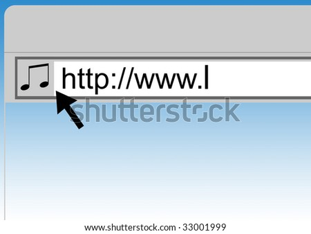 Conceptual image of searching for music on internet web browser. - stock photo