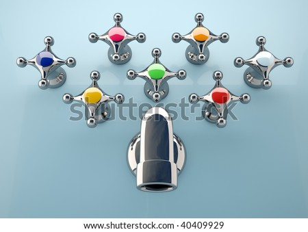 Conceptual image of seven faucet tap with different colors - 3d render