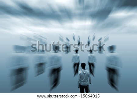 Conceptual image of single male figure amongst blurred figures