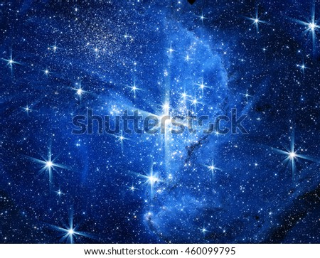 conceptual image of space, stars and light. Furnished NASA image used for this image  - stock photo
