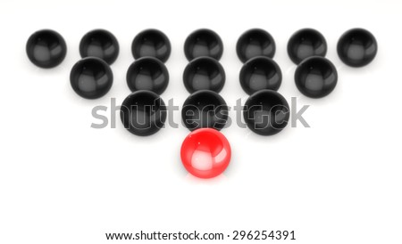 Conceptual image of spheres symbolizing leadership 3D rendering - stock photo