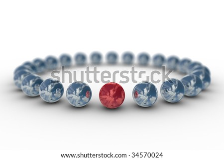 Conceptual image of teamwork. 3D image. Depth of Field - stock photo