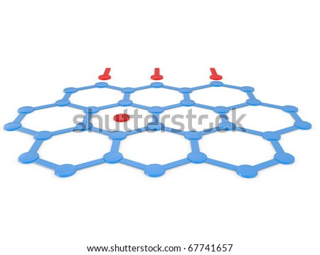 Conceptual image of teamwork. 3D image on a white - stock photo