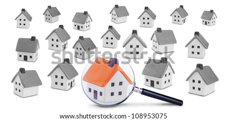 Conceptual image of the search and inspection of the house.Isolated on a white background - stock photo