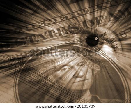 Conceptual image of US dollar overlaid with eye - stock photo