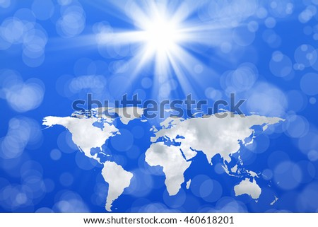 conceptual image of world map in sky. Furnished NASA worldmap image used for this image