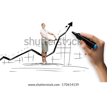 Conceptual image of young businesswoman against graph sketch - stock photo