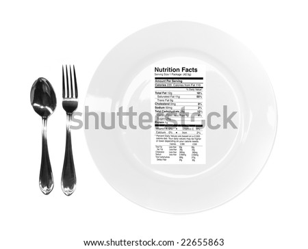 Conceptual Image Related to Dieting With Unhealthy Nutrition Facts on Plate With Fork and Spoon