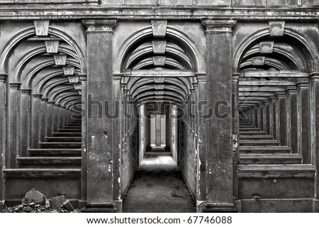 Conceptual image showing a dream-like scene within an abandoned builing - stock photo