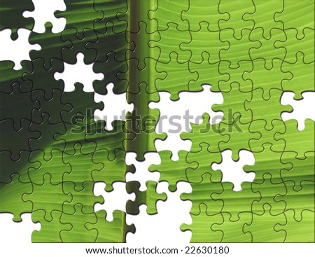 Conceptual image showing part finished jigsaw puzzle of leaf