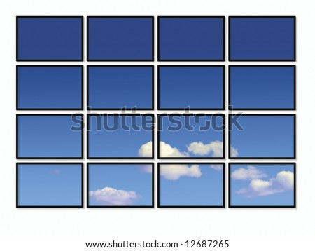 Conceptual image showing television screens displaying cloudy sky
