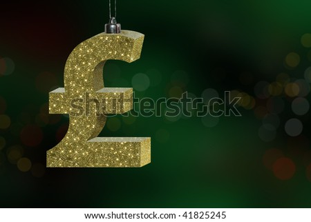 Conceptual image showing the cost / expense of Christmas, with a British Pound Sterling sign. - stock photo