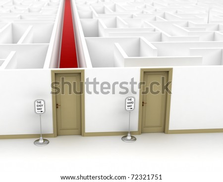 Conceptual image showing the easy and the hard way - stock photo