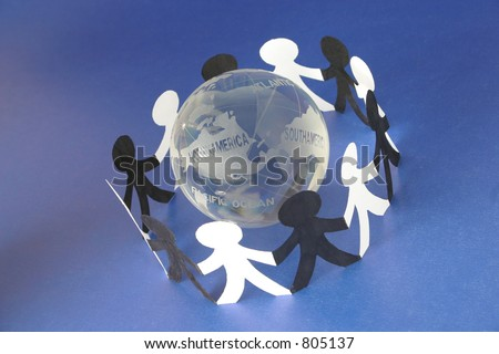 Conceptual image shows global connections thru the internet/worldwide web, teamwork, diversity, etc. - stock photo
