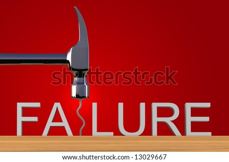 Conceptual image spelling the word failure with a bent nail - stock photo