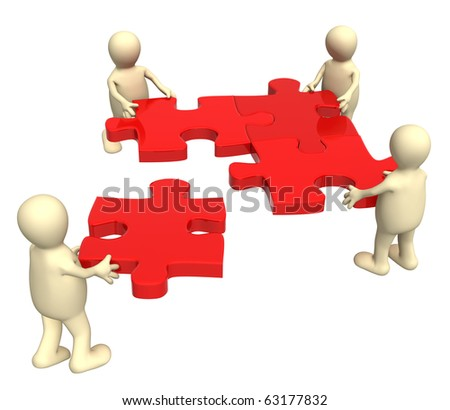 Conceptual image - success of teamwork - stock photo