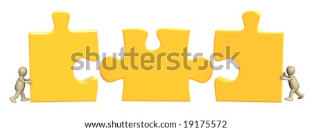 Conceptual image - success of teamwork. Object over white - stock photo