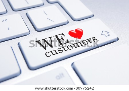 Conceptual image supporting a mindset of supporting customers and customer service. - stock photo