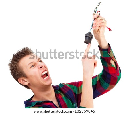 Conceptual image - teenager getting electric shock. - stock photo