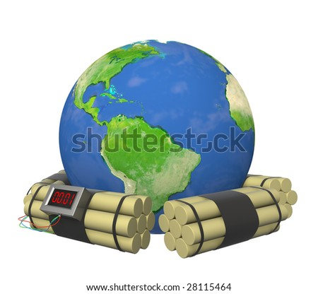 Conceptual image - the Earth under threat of explosion - stock photo