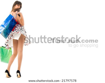 Conceptual image, Time has come to go shopping, text easily can be removed - stock photo