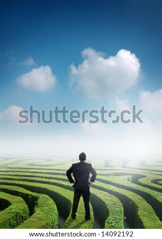 Conceptual image with a businessman on top of a maze. - stock photo