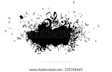 Conceptual image with black music signs on white backdrop