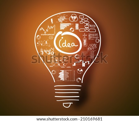 Conceptual image with drawn light bulb and business sketches - stock photo